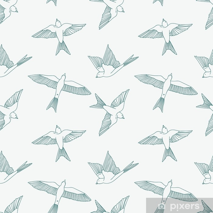 Vinyl Fotobehang Vintage naadloze patroon met kleine zwaluwen. vector leuke illustratie - Dieren