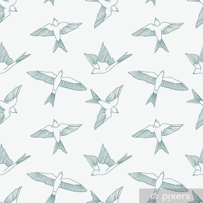 Fotomural Estándar Vintage de patrones sin fisuras con pequeñas golondrinas. Vector ilustración linda - Animales