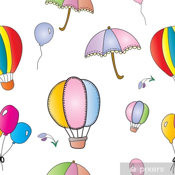 Poster Modèle sans couture coloré de montgolfière, parapluie de couleur pastel et petites fleurs dans le ciel et le vent, concept mignon vecteur et illustration - Ressources graphiques