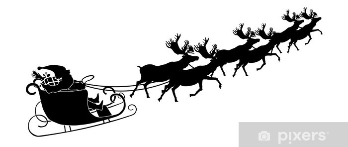 Fonkelnieuw Fotobehang Rendieren slee met de Kerstman - Silhouette • Pixers WT-82
