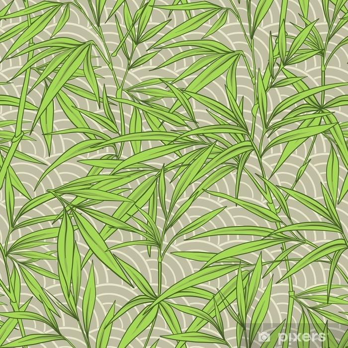 Sticker Modèle Sans Couture Avec Des Feuilles De Bambou Et Des Branches En  Sty Japonais Pixerstick