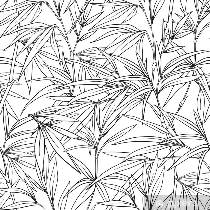 Sticker Modèle Sans Couture Avec Bambou Dans Un Style Japonais. Dessin Au  Trait Pixerstick