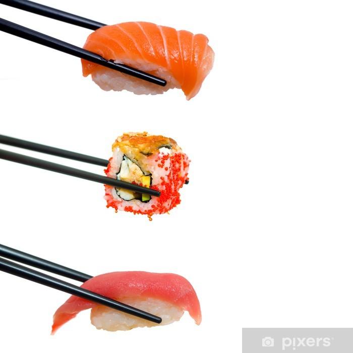 Papier peint vinyle Sushi avec des baguettes - Sushi