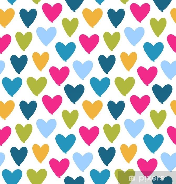 Fototapeta Kreslene Vicebarevne Srdce Siluety Na Bilem Pozadi Den