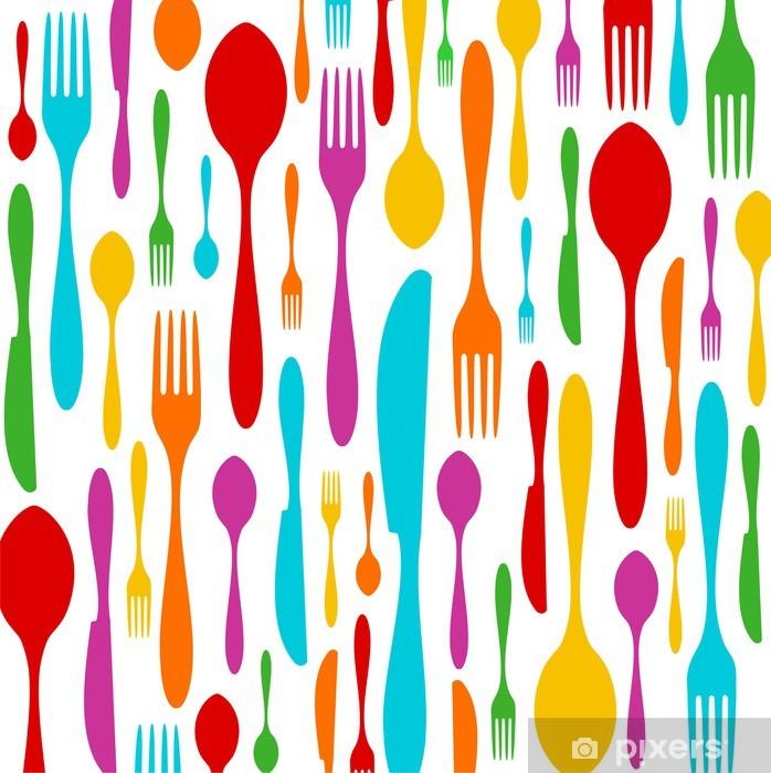 Vinilo Pixerstick Cubiertos patrón de colores sobre fondo blanco - Temas