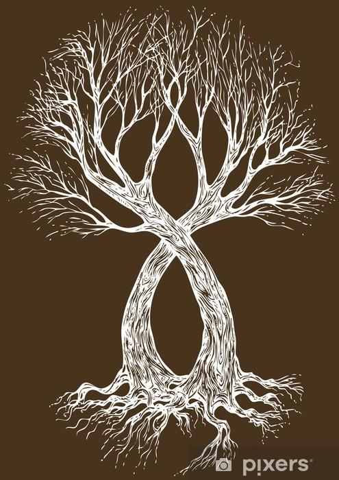 Fototapeta Projekt Ilustracji Wektorowych Tatuaż Drzewo Pixers