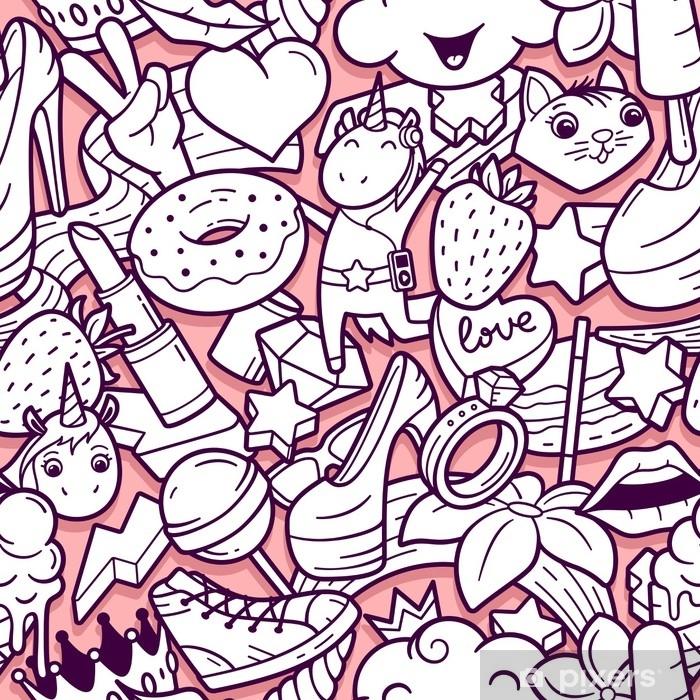 Sticker Modele Sans Couture De Graffiti Avec Des Icones De Ligne De Style De Vie Urbain Fond De Vecteur Abstraite Doodle Fou Collage De Style De