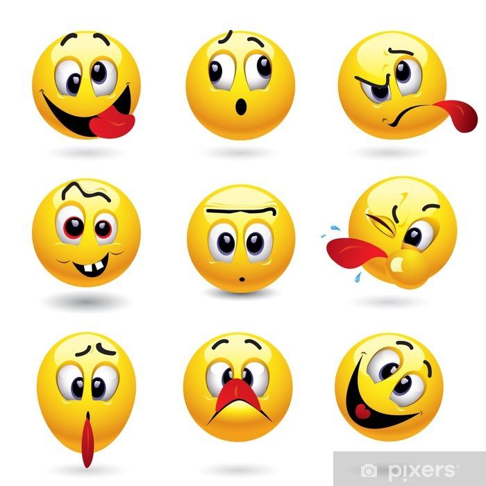 Vinilo para Nevera Smiley bolas que muestran la cara divertida - Señales y símbolos
