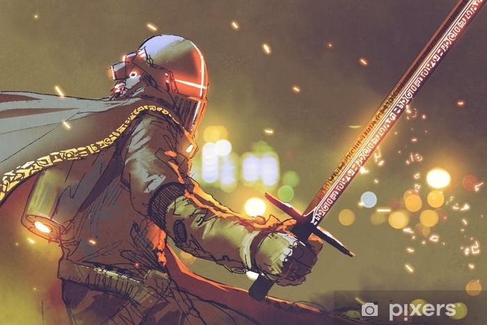 Fototapeta winylowa Sci-fi postać rycerza awatara w futurystycznej zbroi trzymającej magiczny miecz, cyfrowy styl, ilustracja malarstwo - Ludzie