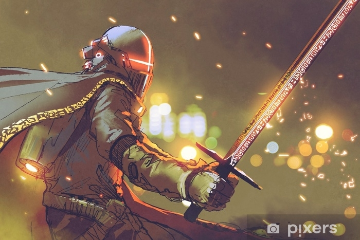 Naklejka Pixerstick Sci-fi postać rycerza awatara w futurystycznej zbroi trzymającej magiczny miecz, cyfrowy styl, ilustracja malarstwo - Ludzie