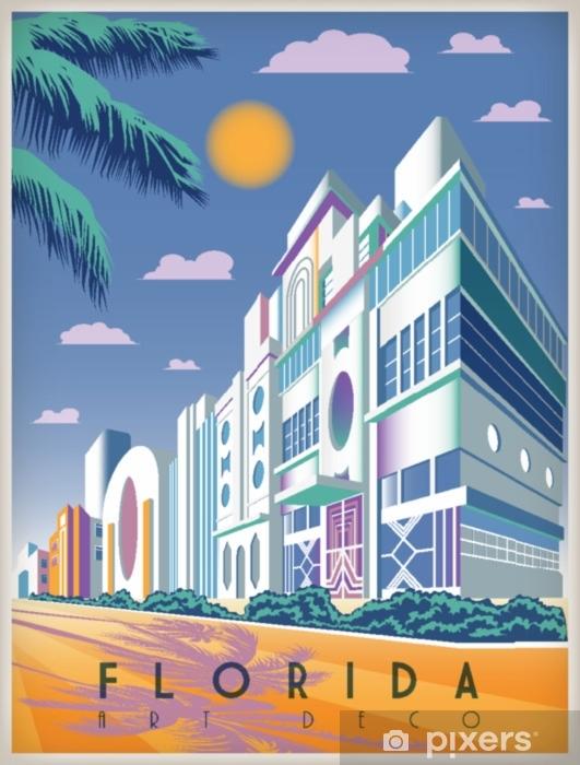 Solrik dag i Florida, USA. håndlaget tegning vektorillustrasjon. art deco stil. alle bygninger - tilpassbare forskjellige objekter.