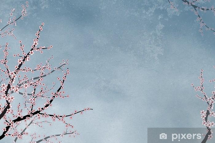 Vinyl-Fototapete Kirschbaum auf strukturierten Hintergrund mit Platz für Text - Hintergründe