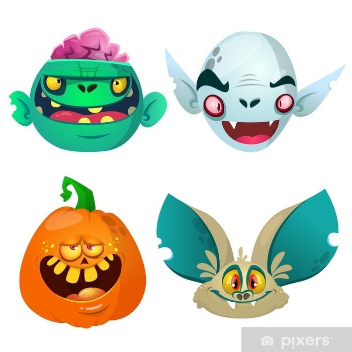 Halloween Characters Set Cartoon Of Bat Pumpkin Jack O Lntern
