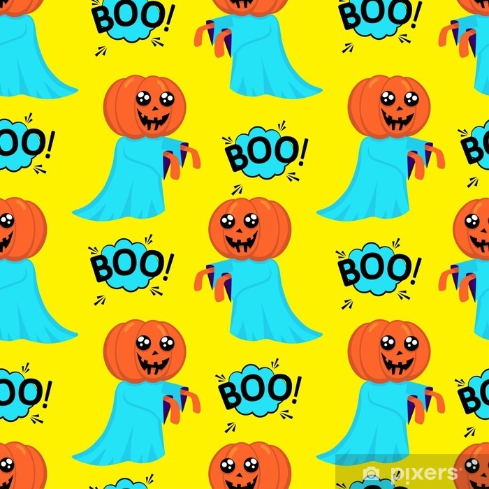 Abstract seamless pattern for girls or boys  Creative vector background  with a pretty ghost with a head instead of a pumpkin halloween  Funny
