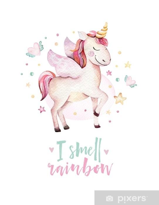 Sticker Affiche D Enfants Licorne Aquarelle Mignon Isolé Illustration De Licornes Pépinière Dessin De Licornes Princesse Cheval Magique De Dessin