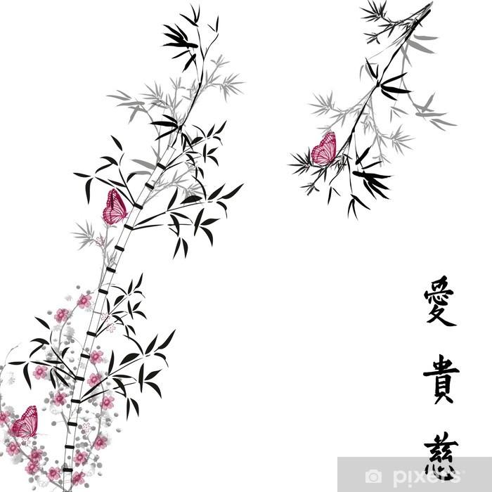 Fotomural Autoadhesivo Bamboo con la mariposa por MarioDL - Vinilo para pared