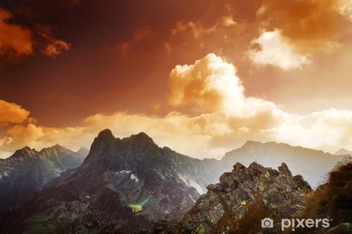 Mountains sunset landscape Pixerstick Sticker - Tatra Mountains