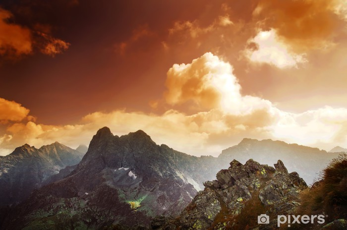 Mountains sunset landscape Vinyl Wall Mural - Tatra Mountains