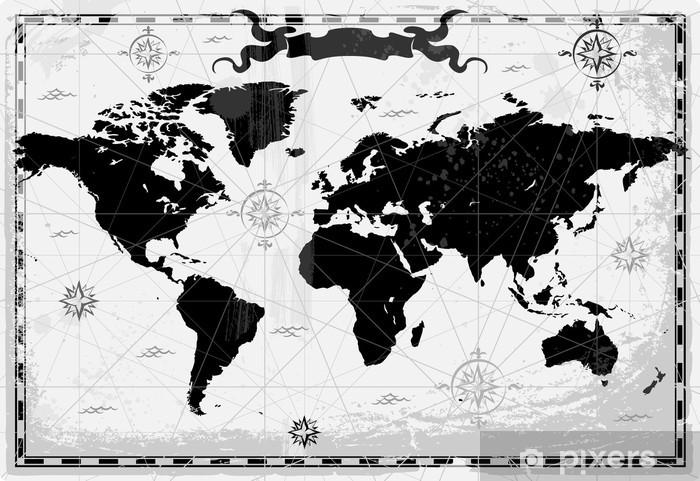Carta da parati nero mappa del mondo antico pixers for Carta parati mondo
