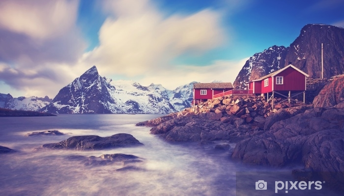 Lofoten im Winter Self-Adhesive Wall Mural - Landscapes