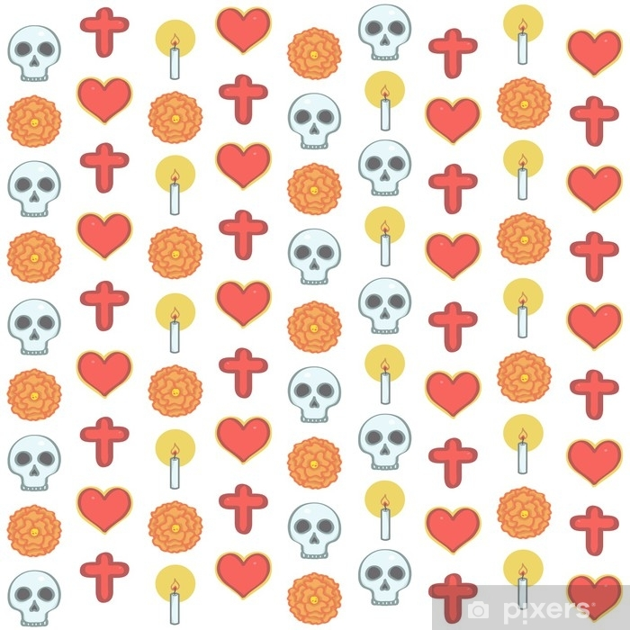 Colorful pattern in Mexican Day of the Dead style with religious ornaments and flowers, vector illustration on white background Poster - Culture and Religion