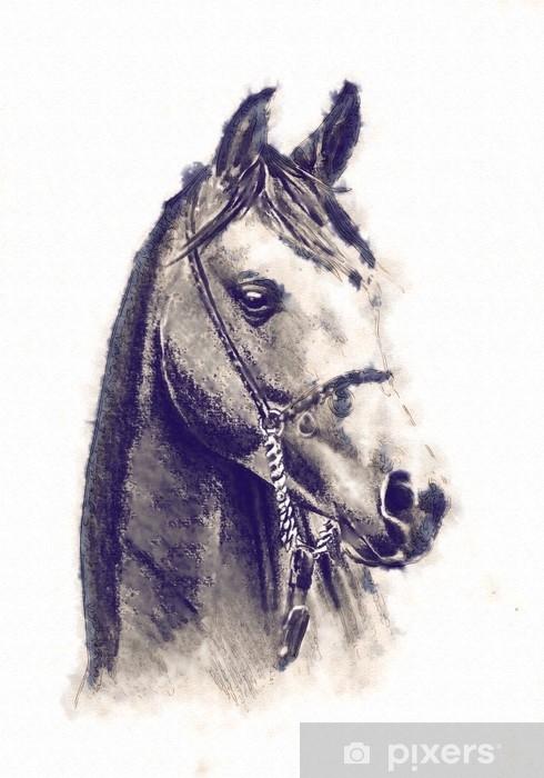 Sticker Pixerstick Dessin au crayon à la tête de cheval à main levée - Animaux