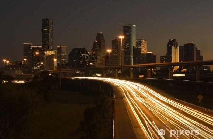 Pixerstick Aufkleber Innenstadt von Houston hinter Autobahn - Sonstige