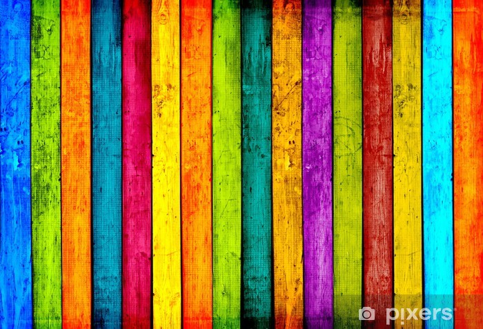 Colorful Wood Planks Background Vinyl Wall Mural -
