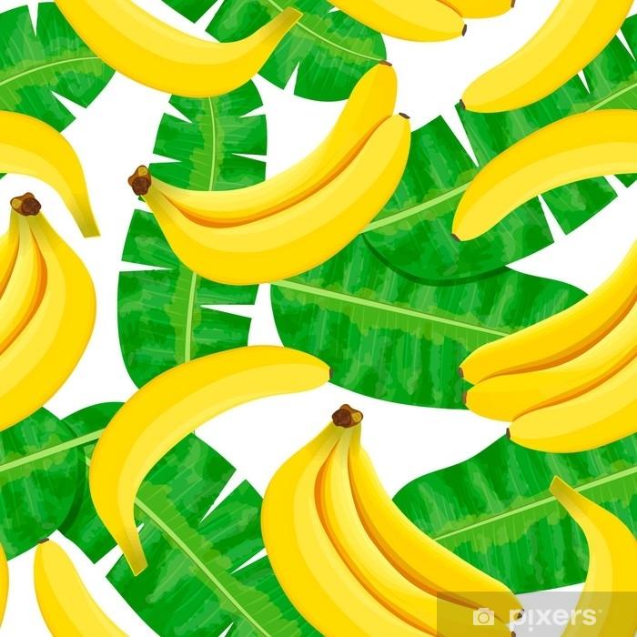 Sticker Pixerstick Illustration aquarelle sans couture des feuilles tropicales, jungle dense. Le motif avec un motif tropicale d'été peut être utilisé comme texture de fond, papier d'emballage, textile, conception de papier peint. Feuilles de palmier à la banane - Ressources graphiques