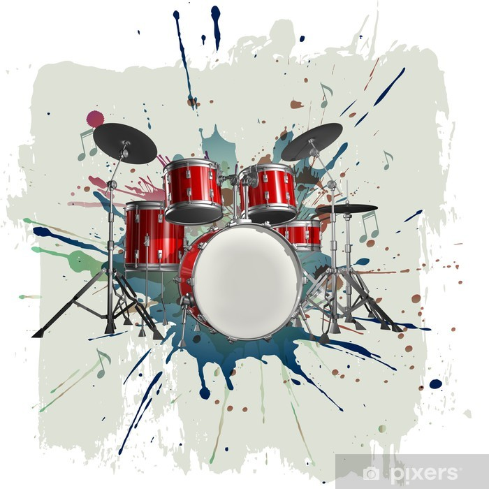 Pixerstick Sticker Drumstel op grunge achtergrond - jazz