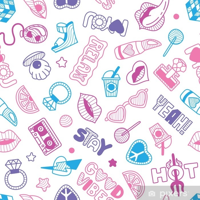 Vinilo Pixerstick Vector doodle girly seamless pattern, texture or background - Recursos gráficos