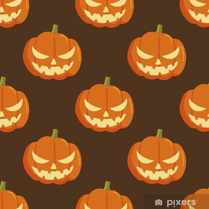 Papier Peint Modèle Sans Couture De Dessin Animé Halloween Citrouille Modèle Sans Couture D Halloween Stock De Vecteur