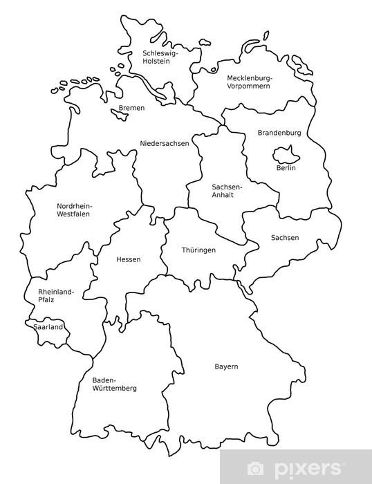 Deutschland Karte Bundesländer Schwarz Weiß.Fototapete Deutschlandkarte Mit Bundesländern