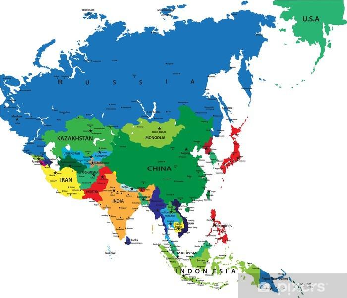 Politische Karte Asien.Fototapete Politische Karte Von Asien