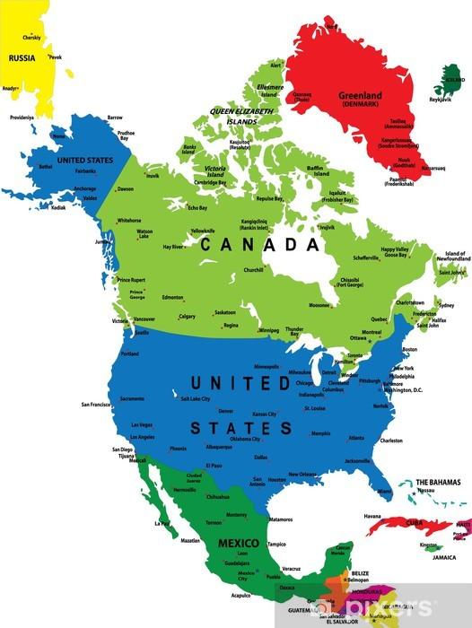 Fototapeta winylowa Mapa polityczna Ameryki Północnej - Tematy