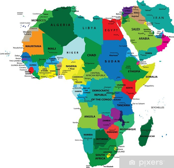 Fototapet Politisk Karta Over Afrika Pixers Vi Lever For