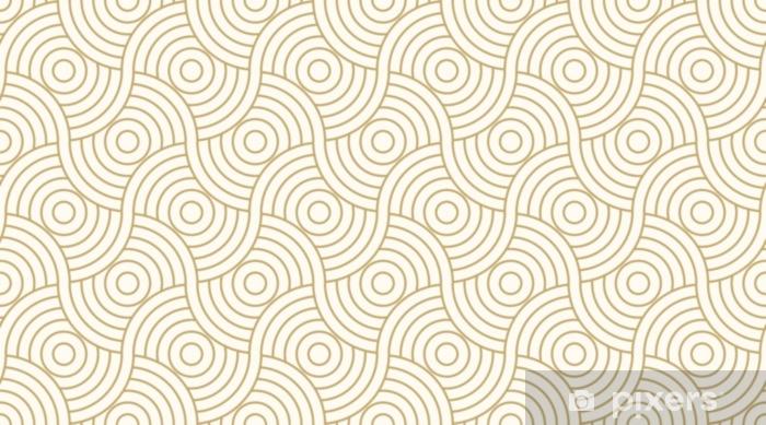 Fototapeta zmywalna Wzór bez szwu koła abstrakcyjne tło fala paskiem złoty kolor luksusu i linii. geometryczna linia wektor. - Zasoby graficzne
