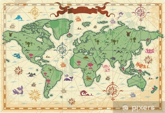 Koc pluszowy Kolorowe starożytna mapa świata - Tematy