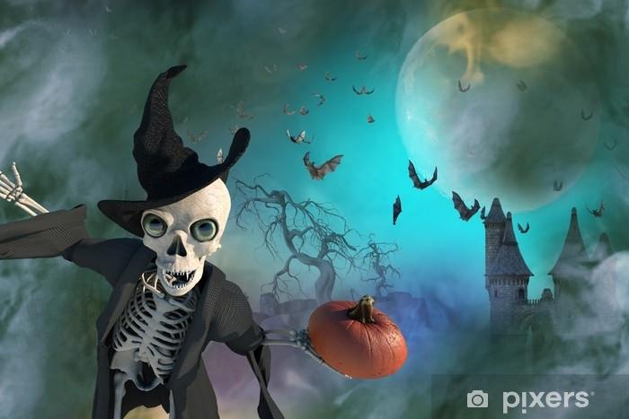 Alfombrilla de baño Ilustración 3D de un esqueleto de Halloween con un sombrero de bruja - Religiones y culturas
