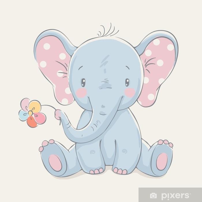 Nálepka na sklo a okna Roztomilý slon s květinovým karikatura ručně tažené  vektorové ilustrace. lze 69898fc5aa