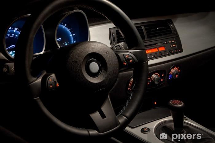 Vinil Duvar Resmi Dramatik gece aydınlatma ile spor otomobil iç -