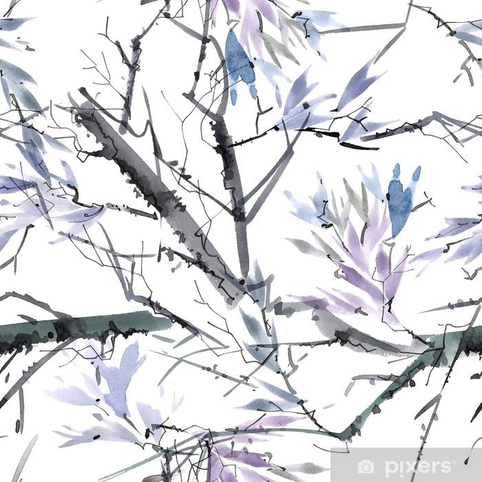 Papier Peint Autocollant Motif aquarelle foliée - Plantes et fleurs