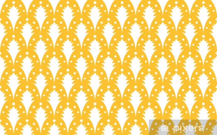 Seamless yellow and white art deco peacock vintage pattern vector Washable Wall Mural - Graphic Resources