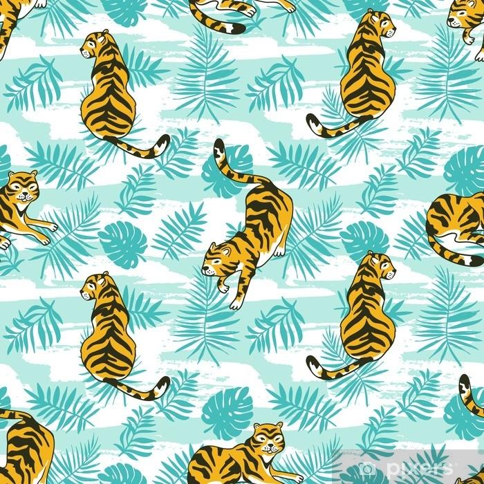 ac74393aaa Fotomural Estándar Tropical de patrones sin fisuras con tigres y hojas de  Palma. diseño animal vector para tela