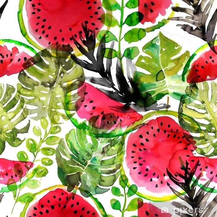 Afwasbaar Fotobehang Tropische watermeloen en palm verlaat naadloze patroon. aquarel schilderij - Grafische Bronnen