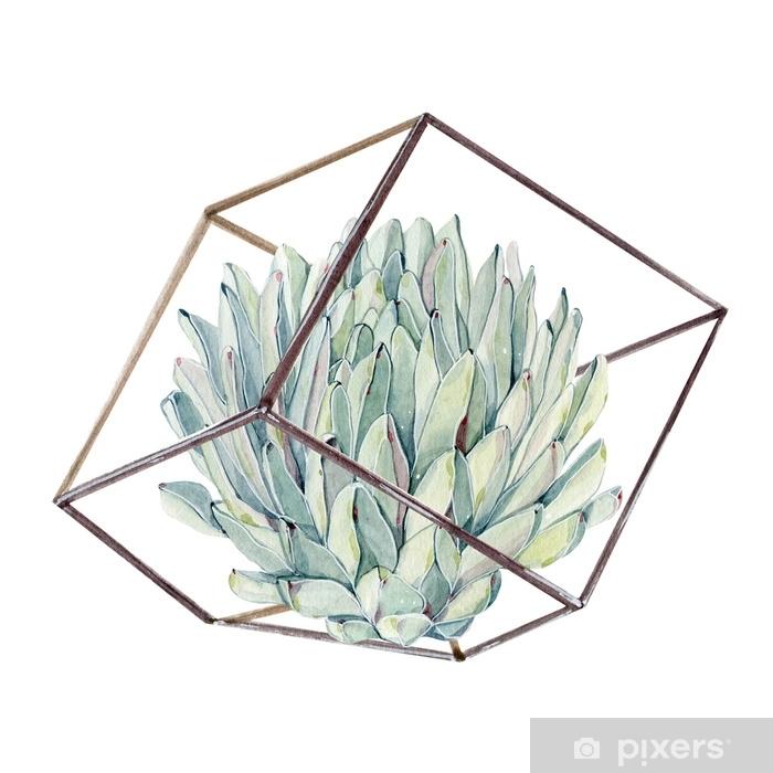 Autocolante Pixerstick Buquê de suculentas vintage aquarela - Plantas e Flores