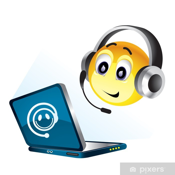 Fototapet Smiley bollen arbetar på sin dator • Pixers® - Vi lever ... 8042c7774449a
