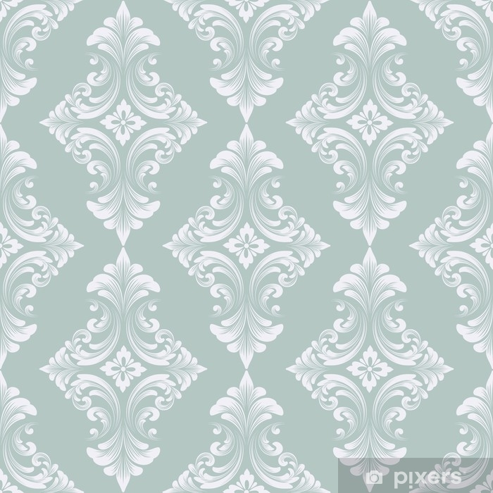 Fototapet av vinyl Vektor damask sømløst mønster bakgrunn. klassisk luksus gammeldags damask ornament, kongelig viktoriansk sømløs tekstur for bakgrunnsbilder, tekstil, innpakning. utsøkt floral barokkmal - Grafiske Ressurser