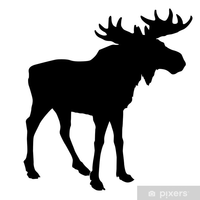 silhouette moose on white background Framed Poster - Wall decals