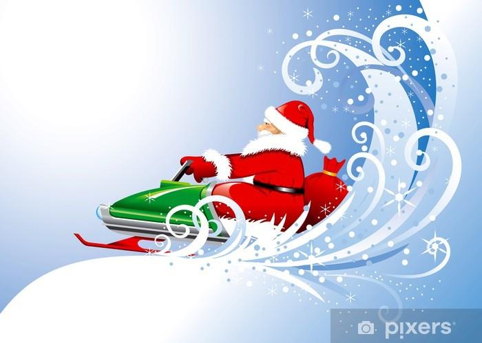 Vinylová fototapeta Santa Claus na sněžném skútru. Vector editovatelné. - Vinylová fototapeta